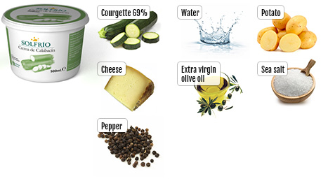 Ingredients of Solfrío creamed courgette