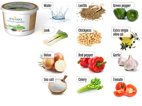 Ingredients of Solfrío creamed pulses